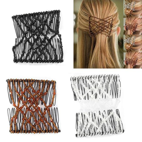 3 stücke Magie Kämme Elastische Perlen Stretch Hair Bun Maker Haarspangen Styling Werkzeug Kämme für Mädchen Frau