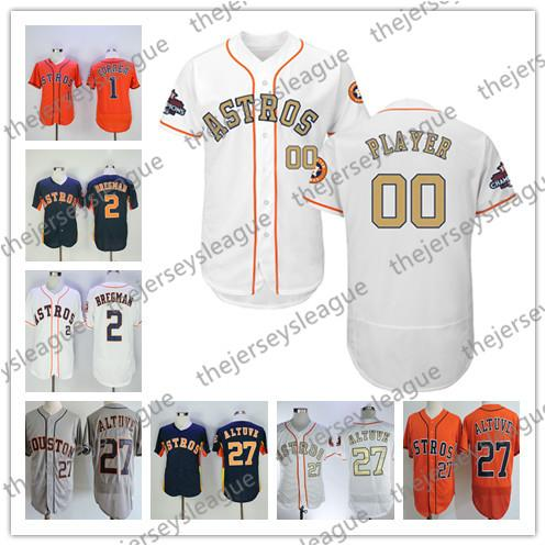 sports shoes 338ee 2bc92 2019 Custom Astros White Any Name Number Gray Stitched Orange Blue Jerseys  2019 Houston #27 Jose Altuve 1 Carlos Correa 35 Justin Verlander From ...