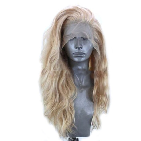 24 parrucca donne Inch biondo dorato lungo Elegante Soft testa piena di moda Synthetic calore capelli resistenti pizzo naturale anteriore giornaliera ricci