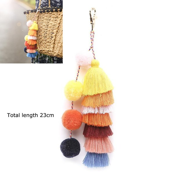 Bohemian Pompons Key Chain Cotton Tassels Layered Bag Hanging Pendant Car Key Ring For Women Girl Jewelry Gift 23cm