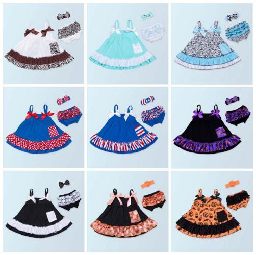 Baby Girl Clothes Kids Summer Clothing Sets Summer Suspender Dresses Diaper Cover Headband Outfits Infant Ruffle Tops PP Pants Suits E427