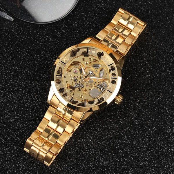Special Night Light Function Wristwatch Luxury Golden Frame Automatic-self-winding Watch for Men Stainless Steel Strap Mechanical Watches