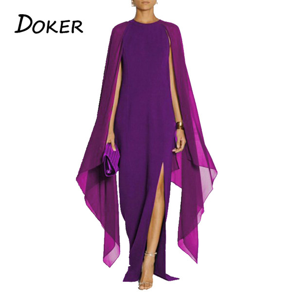 Vestito da sera da sera sexy delle donne 2018 chiffon estivo patchwork a maniche lunghe vestito allentato signore alta fessura solido maxi vestito abiti SH190706