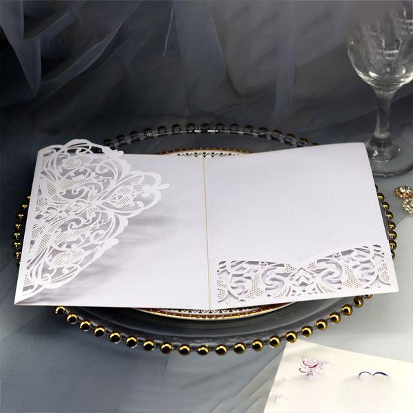 10pcs Festival Birthday Prints Lace Pearlescent Paper Tri-fold European Invitation Wedding Party Elegant Greeting Cards