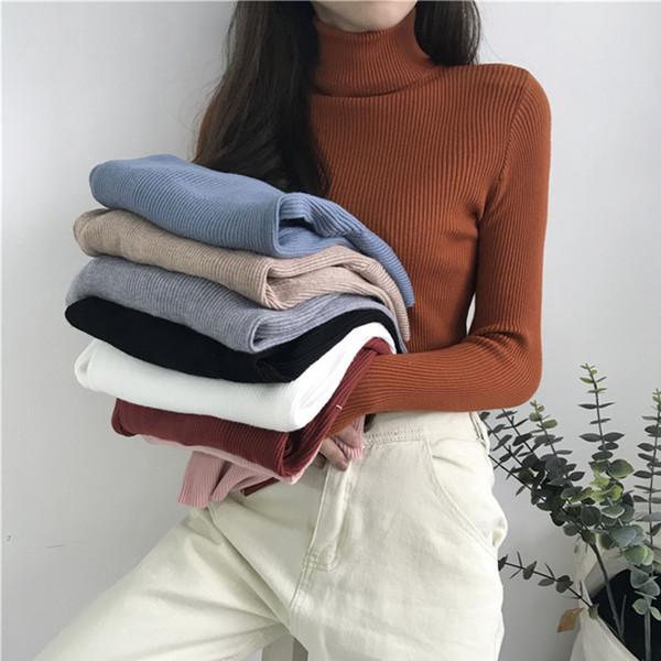 AOSSVIAO 2019 dolcevita caldo donne maglione lavorato a maglia Autunno Inverno Femme Pull Slim ad alta elasticità morbida femmina Pullover Maglione Y200116
