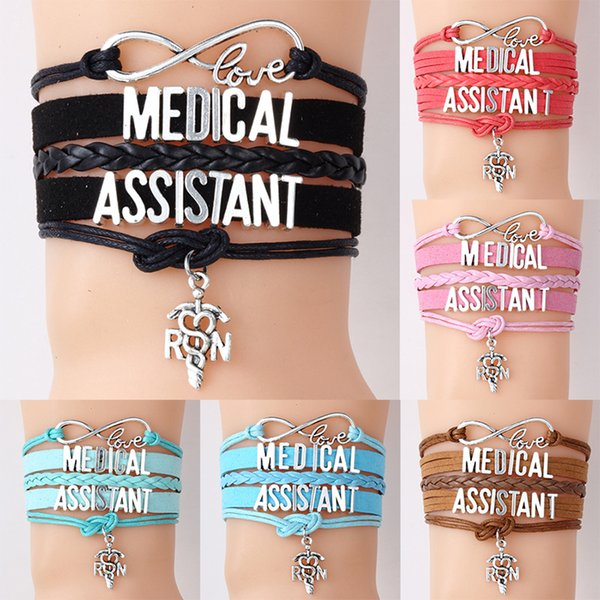 New Medical Assistant Nurse bracelets RN Letter charm Braided leather rope wrap bangle For women Fashion Jewelry Nurse's day Gift