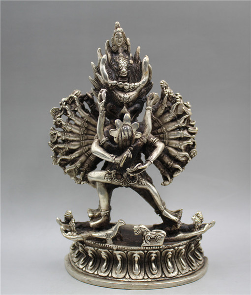 Statuetta tibetana in argento intagliato a mano Big Weide King Kong Buddhism Buddha Seat
