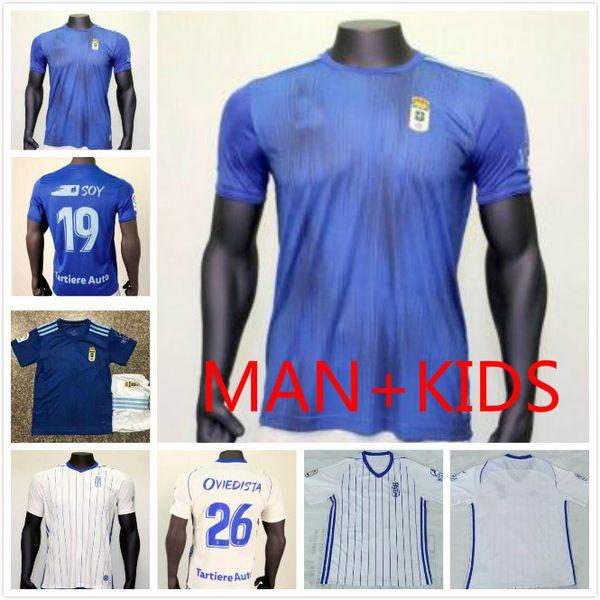 Çocuklar Real Oviedo Futbol Jersey kiti 19 20 Oviedo Ana Mavi Futbol Gömlek 2019 2. Jóhannesson 10. Saul 7. RAMOS Futbol Üniformalar Satış