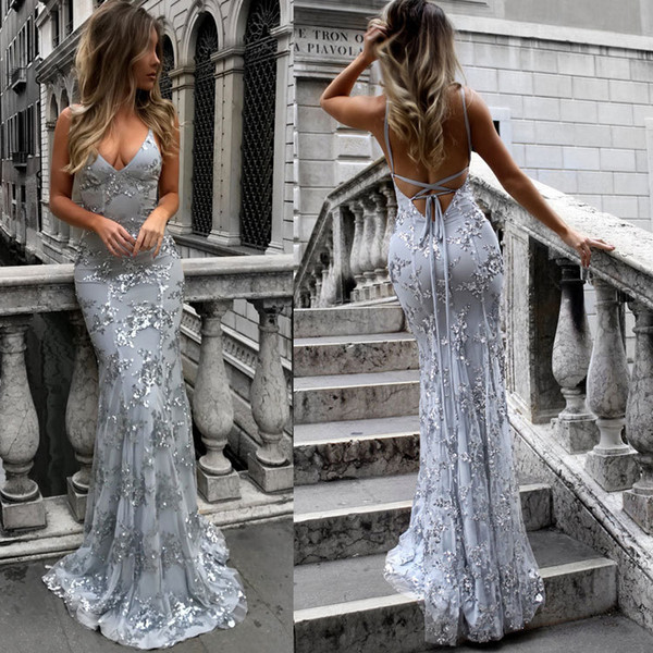Spaghetti Straps Sequined Prom Dresses Long Backless Criss Cross Floor Length Party Dress Sleeveless Maxi Dress Lace Mermaid Evening Gowns
