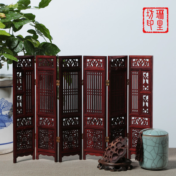 Chinese Classical style Rosewood Redwood furniture crafts carved screen Hollow micro home decoration gifts small ornaments