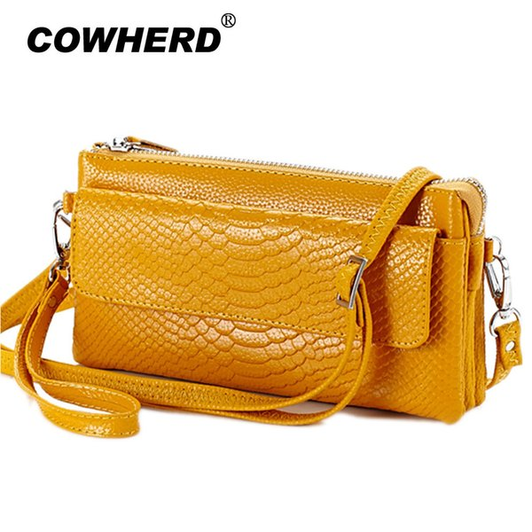 Hot Selling! Women Clutch Bag Snake Pattern Genuine Cow Leather Wallets Fashion Wristlet Phone Purse Shoulder Bags 6 Colors J190630