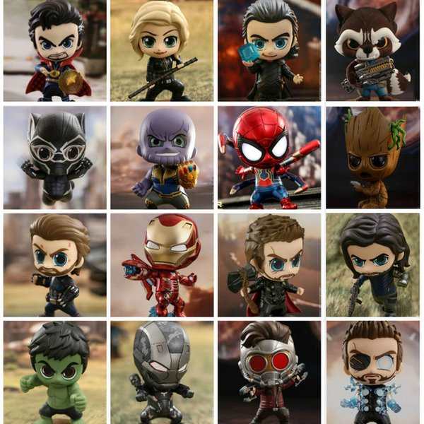 2019 Avengers Infinity War Iron Spider Man Dr. Strange Thanos Captain America MK50 Cosbaby Bobble-Head toy figure free shipping