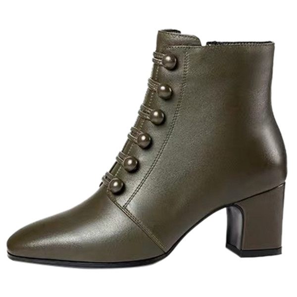 SAGACE sexy ankle boots for women Shoes Women Button Ankle Round Toe Zipper Bare Boots female Square Heel Solid Short Booties