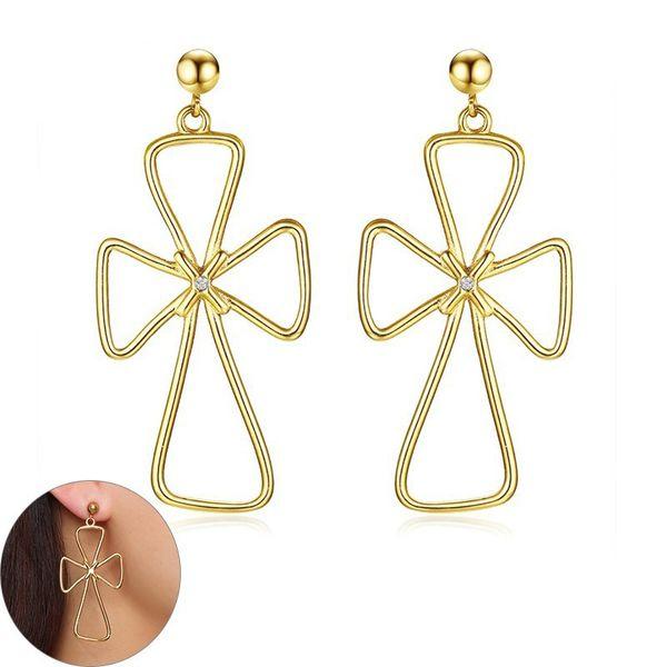 Gold Color Cross Knot Dangle Earrings for Women Stainless Steel Big Oversize Drop Earrings Fashion Jewelry