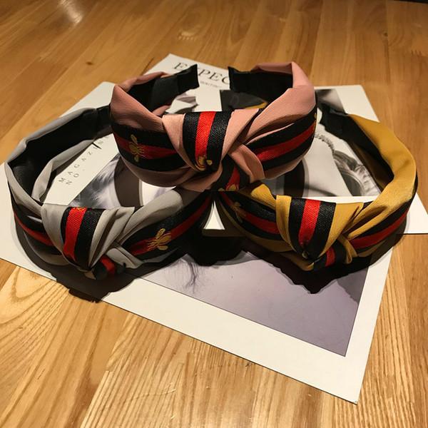 DHL Gorras japonesas y coreanas anudadas diadema con rayas estilo británico abeja ancha lateral horquilla deportiva banda para la cara