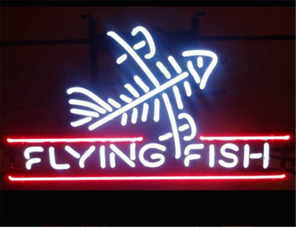New Star Neon Sign Factory 17X14 Inches Real Glass Neon Sign Light for Beer Bar Pub Garage Room Flying Fish.