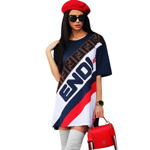 Kadın Spor Elbise Yaz Kısa Kollu Uzun T-Shirt Etek Gevşek Tee Elbiseler F Mektup Baskılı Spor Sokak Kulübü Giyim 2019 Satış C436