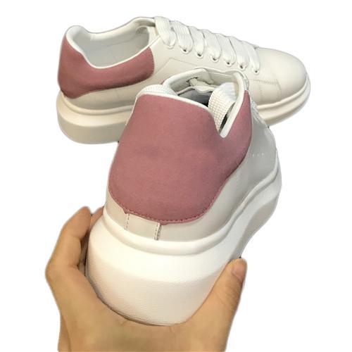 De alta calidad para hombre de mujer de moda de cuero blanco negro zapatos de plataforma plana zapatos casuales dama negro rosa oro mujer zapatillas blancas