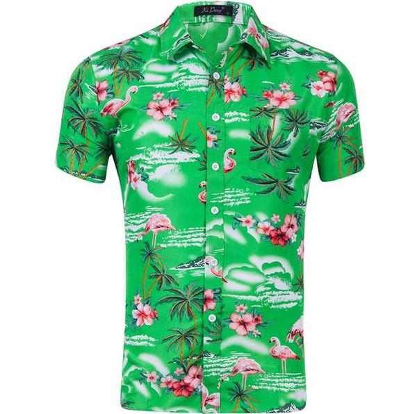 Sexy Summer Hawaiian beach style 3D graphic Christmas flamingo floral men print casual shirts Aloha Holiday Beach Top Shirts 5pcs/lot