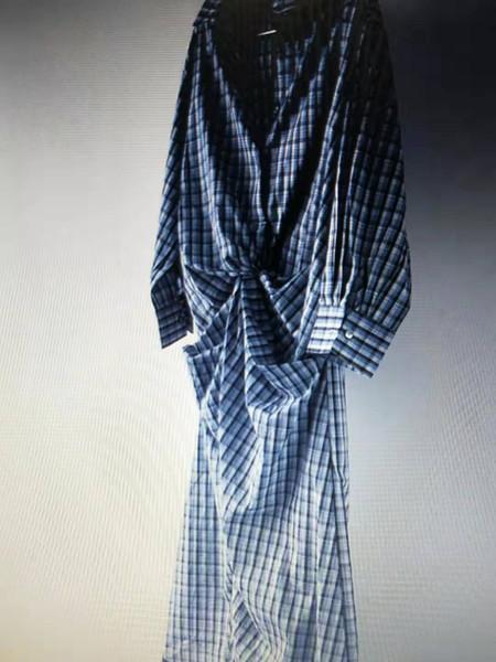 Women's Clothing Loose waist irregular regular regular regular sleeve Lapel Plaid mid-length sAutumn New Korean Chic Simple and Fresh Design