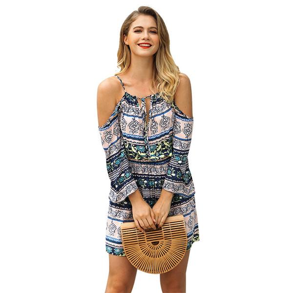Moda fresca, bohemia, estampado, hombros, vestido, ropa de verano para niña, nuevo estilo.