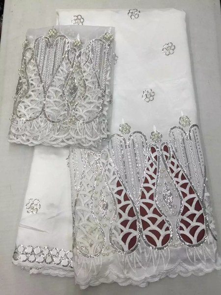 Beaded Lace Fabric 2018 High Quality White African George Fabric with Blouse Hojilou Nigerian Lace Fabrics with Sequins