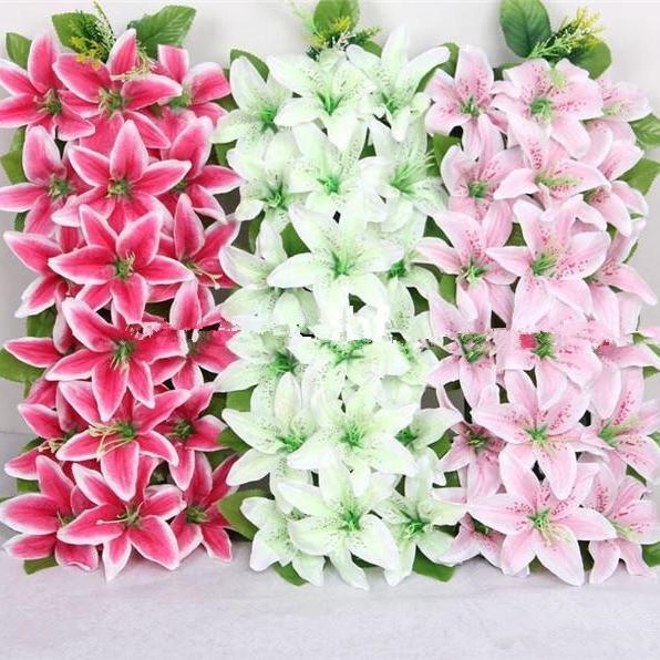 인공 실크 백합 꽃 약정 아치 밑의 통로 행 꽃 광장 모양 릴리 결혼식 꽃 홈 파티 장식 꽃 EEA296에 대한