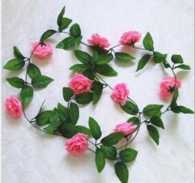 14 colori Scelta 240 cm / 94in Rose di seta finte Ivy Vine Fiori artificiali con foglie verdi per la decorazione domestica di nozze Hanging Garland Decor