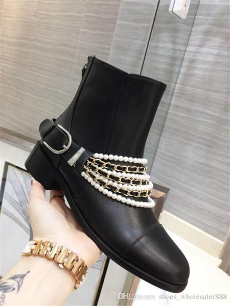 Classic Women Black Leather High Heel Boots ,Metal elements Chain trim boots Lady Boot Booties with Buckle with Box Size 35-41
