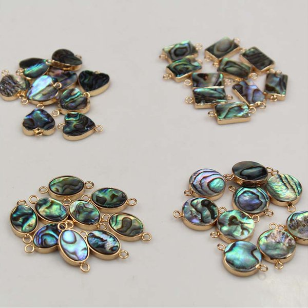10pcs/lot Fantasy Green Double Cliver Natural Abalone Shell Rim Loose Beads for Jewelry Making Neckalce Bracelet Earring Pendant XL3PPP010