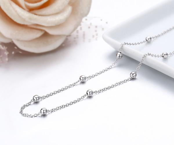 925 Big perles en argent sterling Croix chaîne Ras du cou Femmes Filles 40cm 45cm Bijoux kolye collares collane charbonnier ketting
