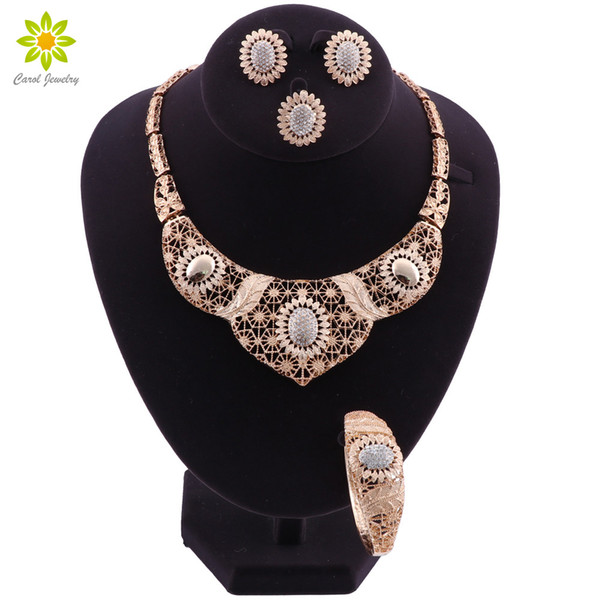 Wedding Jewelry Sets For Brides Crystal Necklace Earrings Bracelet Ring Set For Women Dubai Gold Plated Costume Jewellery