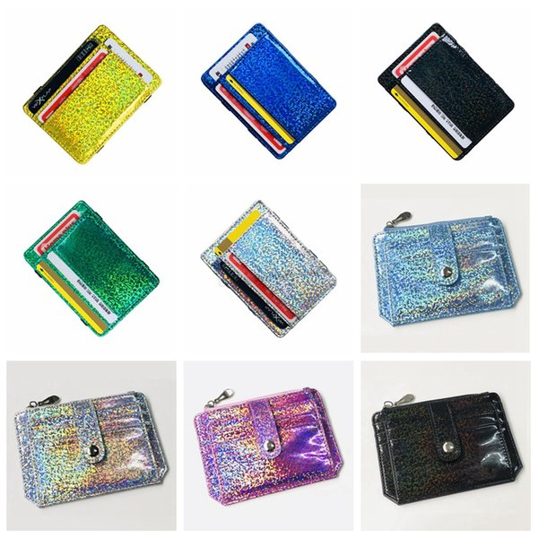 Laser Hologram Card Bag String Bus Card Bags Shinning ID Holder Girl Fashion Bentoy Bank Card Bag Sliver Golden Bags Free Shipping