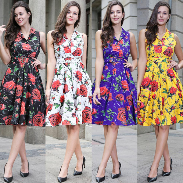 women dresses Women Clothes Floral print Sleeveless Belt Fashion China women clothing manufacturer 2019 Summer European USA Hot selling