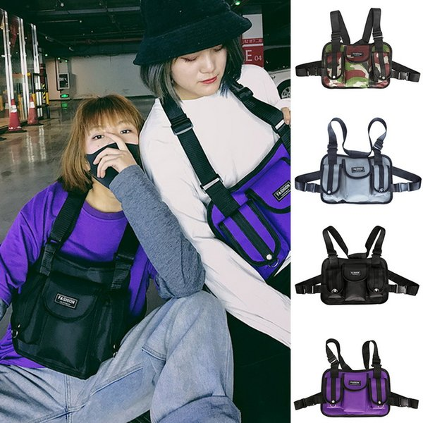 PUIMENTIUA 2019 Fashion Chest Rig Waist Bag Front Pack Hip Hop Streetwear Functional Tactical Chest Bag Cross Shoulder Bags