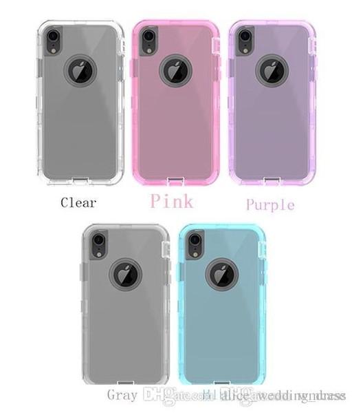 Şeffaf Ağır Defender Vaka Şok Emilimi Temizle Hibrid Arka Kapak Iphone Için X XS Max XR 7 8 Artı Samsung S8 S9 Not 9 Hiçbir Klip
