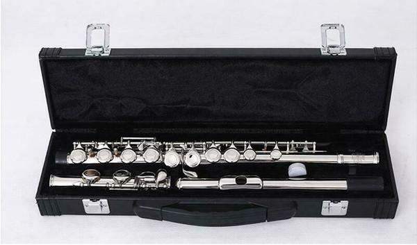 Nueva marca de 16 hoyos cerrado concierto flauta niquelado C pie flauta E llave dividida con estuche rígido