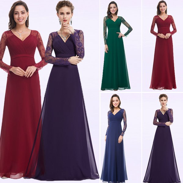 3976c563085a Purple Evening Dresses Chiffon A-line Lace Long Sleeve Autumn Winter Plus  Size Formal Evening