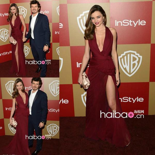Miranda Kerr Red Carpet Celebrity Prom Formal Dresses 2019 Sexy Burgundy High Slit Chiffon Zuhair Murad Evening Party Gown Cheap