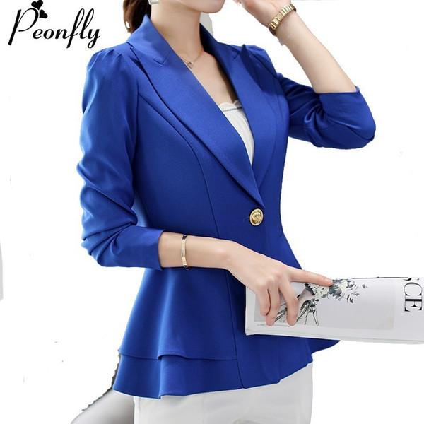 PEONFLY Frauen New Fashion Business Formelle Anzüge Arbeitsmantel Elegante Rüschen Blau Weiß Schwarz Jacke Büro Schößchen Blazer