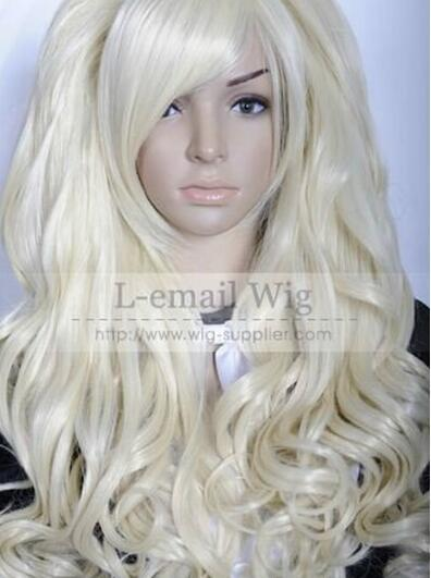 FREE SHIPPING++ + Bridal Woman's Soft Gold curly split type Lolita queen Lady hair Full wig