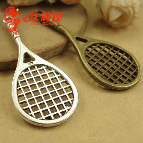 48*20MM Antique Bronze Vintage Retro jewelry Korea new badminton racket, tennis racket charm pendant beads, brass sports charms