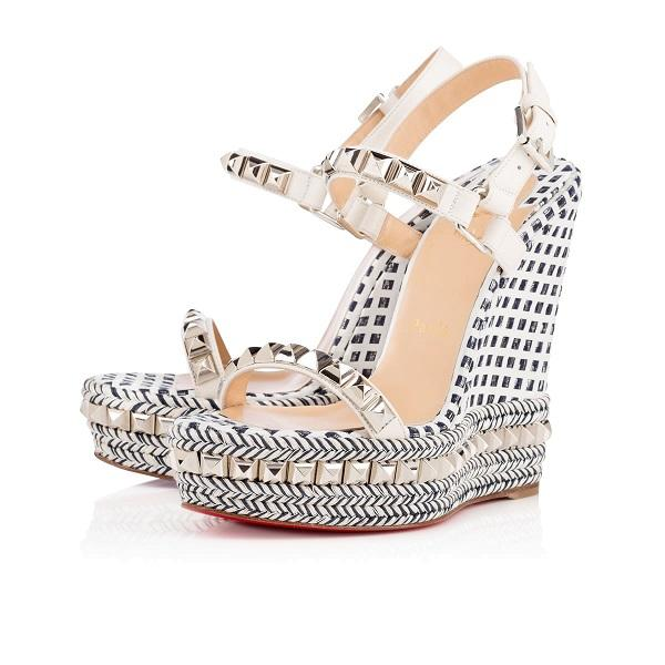 Elegant Ladies Red Bottom Cataclou wedge sandals espadrille-inspired braided High Heels sexy gladiator wedges ankle strap party wedding dres