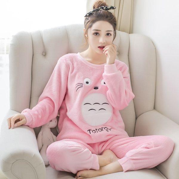 Pajamas Sets Women Winter Fashion Nightwear Leisure Home Cloth Woman Long Sleeve Flannel Warm Pyjama Girl Sleepwear Set Female