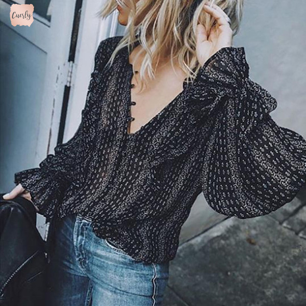 Black Women Blouses Hippie Casual Long Sleeve Shirts V Neck Boho Striped Sexy Long Balloon Lace Sleeve Loose Shirts Tops