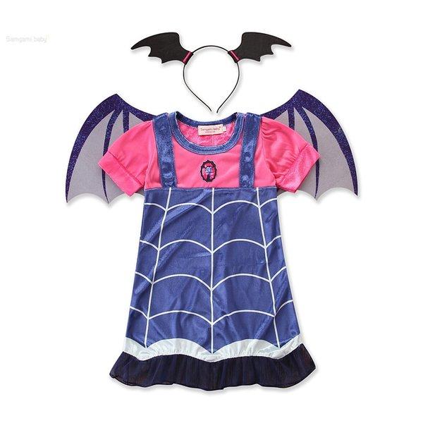Nueva Girls Holloween vestidos de cosplay Extraíbles alas de murciélago terciopelo a rayas de manga corta para niños falda 5 tamaños para 3-7T fiesta