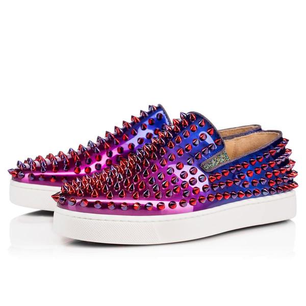 Nueva moda de lujo llegada del diseñador de zapatos inferiores rojos con tachuelas Spikes pisos en Hombres Mujeres blanco negro amantes de la fiesta informal SneakersT03