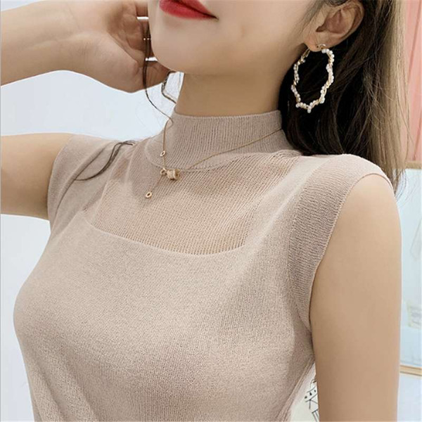 Wholesale ready in Stock knitting thin sweater women with sleeveless and Soft O neck sweater in summer sweater with Free Shipping