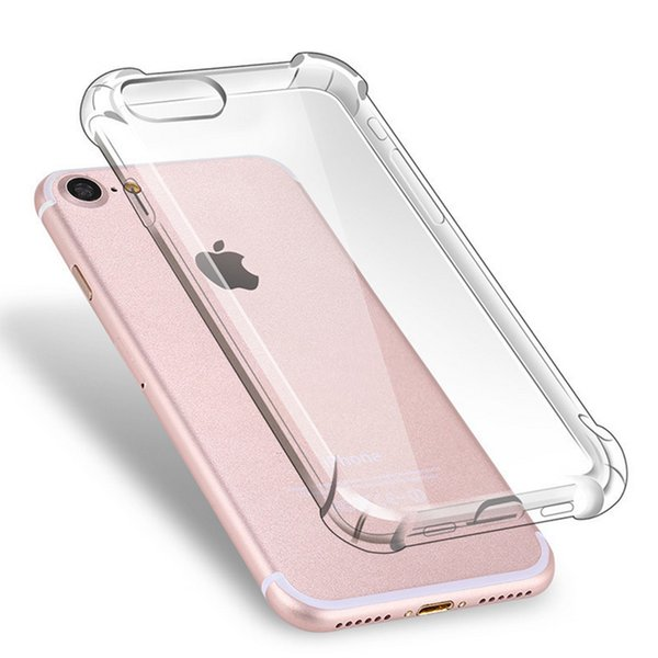 For iPhone X XS MAX XR 7 8 Crystal Clear TPU Case Shock Absorption Soft Transparent Panel Back Cover For Samsung S9 Note9