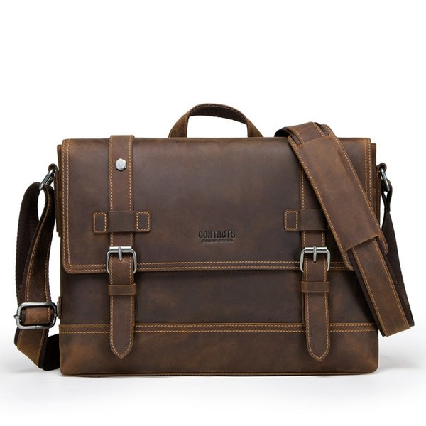 47a7ef02b3bd Vintage Crazy Horse Genuine Leather Bag Lawyer Men'S Briefcases Male  Shoulder Laptop Bag For Men Document Totes Bags #760953 Briefcase Leather  ...